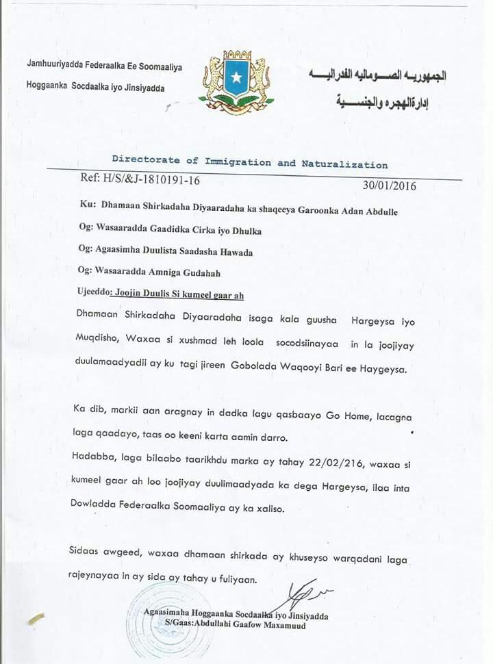 Topnews:-Dowladda Somalia oo mamnuucday duulimaadyadii Somaliland ?
